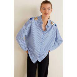 Mango - Koszula Santi-A. Szare koszule damskie marki Mango, l, w paski, z bawełny, klasyczne, z klasycznym kołnierzykiem, z długim rękawem. Za 199,90 zł.