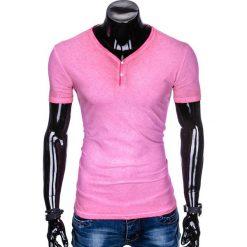 T-SHIRT MĘSKI BEZ NADRUKU S894 - RÓŻOWY. Fioletowe t-shirty męskie z nadrukiem marki KIPSTA, m, z elastanu, z długim rękawem, na fitness i siłownię. Za 39,00 zł.