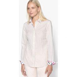Bluzki damskie: Pasiasta bluzka z kołnierzykiem koszulowym, przędza tkana po ufarbowaniu