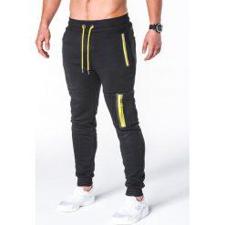 SPODNIE MĘSKIE DRESOWE P658 - CZARNE. Czarne spodnie dresowe męskie marki Ombre Clothing, m, z bawełny, z kapturem. Za 48,00 zł.