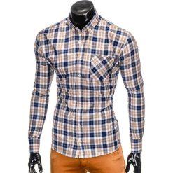 KOSZULA MĘSKA W KRATĘ Z DŁUGIM RĘKAWEM K393 - NIEBIESKA/BRĄZOWA. Brązowe koszule męskie na spinki marki Ombre Clothing, m, z aplikacjami, z kontrastowym kołnierzykiem, z długim rękawem. Za 49,00 zł.