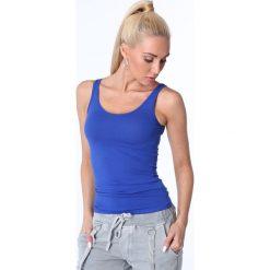 Koszulka na ramiączka chabrowa MP14881. Czarne bluzki damskie marki Fasardi, m, z dresówki. Za 29,00 zł.