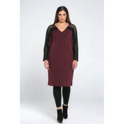 Długie sukienki: Sukienka prosta, gładka, półdługa, z długim rękawem