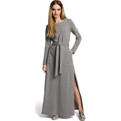 VANDA Sukienka maksi z rozcięciem - szara. Szare sukienki dresowe Moe, z długim rękawem. Za 179,90 zł.