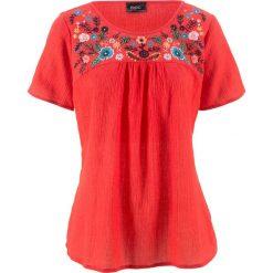 Bluzki damskie: Bluzka z haftem, krótki rękaw bonprix truskawkowy