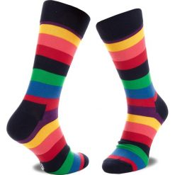 Skarpety Wysokie Męskie HAPPY SOCKS - STR01-6001 Kolorowy. Czerwone skarpetki męskie marki Happy Socks, z bawełny. Za 24,90 zł.