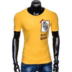T-SHIRT MĘSKI Z NADRUKIEM S984 - ŻÓŁTY. Żółte t-shirty męskie z nadrukiem marki ATORKA, xs, z elastanu. Za 29,00 zł.