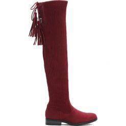 Czerwone Kozaki Close To You. Czerwone buty zimowe damskie marki Born2be, z materiału, z okrągłym noskiem, na obcasie. Za 149,99 zł.