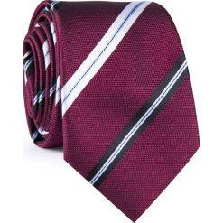 Krawat męski  KWAR001925. Czerwone krawaty męskie Giacomo Conti, w paski, z mikrofibry. Za 69,00 zł.