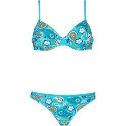 Bikini na fiszbinach (2 części) bonprix turkusowo-biały. Niebieskie bikini bonprix. Za 89,99 zł.