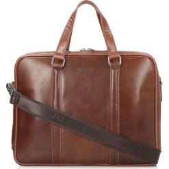 Brązowa torba męska. Brązowe torby na laptopa marki Kazar, w paski, ze skóry, z tłoczeniem. Za 749,00 zł.