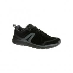 Buty męskie do szybkiego marszu HW 540 skórzane czarne. Czarne buty fitness męskie marki NEWFEEL, z gumy. Za 169,99 zł.