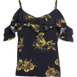 Bluzka z wolantami bonprix czarno-żółty szafranowy z nadrukiem. Czarne bluzki asymetryczne bonprix, z nadrukiem, na ramiączkach. Za 49,99 zł.