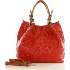 Shopper bag damskie: Skórzana torebka shopper MAZZINI FLORENCE czerwona