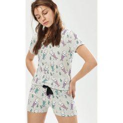 Piżamy damskie: Dwuczęściowa piżama z kotami – Jasny szar