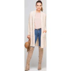 Swetry damskie: Długi Beżowy Kardigan Boucle