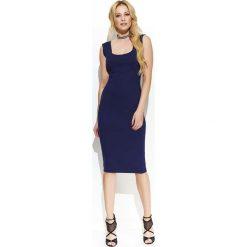 Granatowa Elegancka Ołówkowa Midi Sukienka z Przeszyciami. Niebieskie sukienki balowe marki bonprix, z nadrukiem, na ramiączkach. Za 123,90 zł.