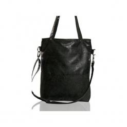 Czarna zamszowa torba do pracy. Czarne torebki klasyczne damskie Karolina audycka, w kropki, z materiału, zamszowe. Za 179,00 zł.