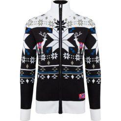 Golfy męskie: Sweter rozpinany w kolorze czarno-białym