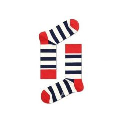 Skarpetki Happy Socks - Stripe (SA01-045). Szare skarpetki męskie Happy Socks, w kolorowe wzory, z bawełny. Za 34,90 zł.