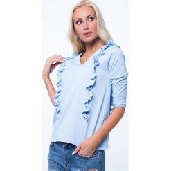 Jasnoniebieska Bluzka z Falbankami 3291. Białe bluzki na imprezę marki Born2be, s, w kwiaty, z koronki, z dekoltem na plecach, z długim rękawem. Za 29,00 zł.