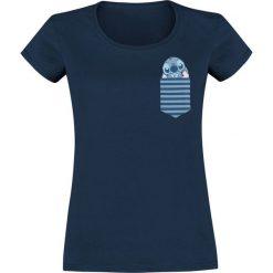 Lilo & Stitch New Pocket Stitch Koszulka damska granatowy. Niebieskie t-shirty damskie Lilo & Stitch, s, z nadrukiem, z okrągłym kołnierzem. Za 74,90 zł.