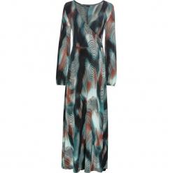 Długa sukienka z efektem założenia kopertowego bonprix niebieskozielono-rdzawy z nadrukiem. Niebieskie długie sukienki bonprix, z nadrukiem, z kopertowym dekoltem, z długim rękawem, kopertowe. Za 149,99 zł.