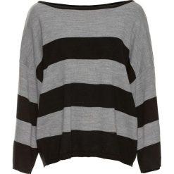 """Sweter oversize """"boxy"""" bonprix czarno-szary melanż. Niebieskie swetry oversize damskie marki bonprix, z nadrukiem. Za 74,99 zł."""