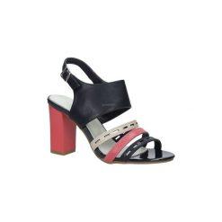 Rzymianki damskie: Sandały Jezzi  Granatowe sandały na obcasie  SA109-4