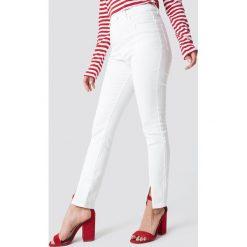 Spodnie damskie: NA-KD Rurki z wysokim stanem – White