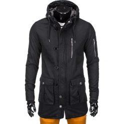 KURTKA MĘSKA ZIMOWA PARKA C301 - CZARNA. Czarne kurtki męskie pikowane marki Ombre Clothing, na zimę, l, z bawełny. Za 99,00 zł.
