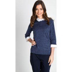 Granatowy sweter z kołnierzykiem i mankietami QUIOSQUE. Niebieskie swetry klasyczne damskie QUIOSQUE. W wyprzedaży za 76,00 zł.