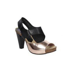 Sandały Nessi  Sandały skórzane na słupku  42103. Czarne sandały damskie na słupku marki Nessi, z materiału. Za 208,99 zł.