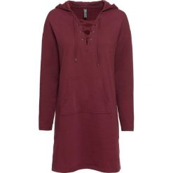 Sukienka dresowa ze sznurowaniem bonprix czerwony klonowy. Szare sukienki dresowe marki bonprix, melanż, z kapturem, z długim rękawem, maxi. Za 109,99 zł.