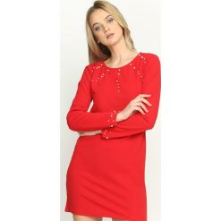 Sukienki hiszpanki: Czerwona Sukienka Trimming Pearl