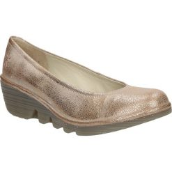 Półbuty skórzane na koturnie Fly London P5004240. Szare buty ślubne damskie marki Fly London, na koturnie. Za 268,99 zł.