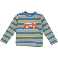 Bluza w kolorze niebiesko-szarym. Niebieskie bluzy chłopięce rozpinane Lamino Fashion, z nadrukiem, z bawełny. W wyprzedaży za 37,95 zł.