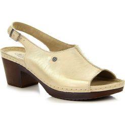 Rzymianki damskie: Złote sandały damskie skórzane Helios 223