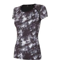 Koszulka treningowa damska TSDF114 - multikolor. Szare bluzki z odkrytymi ramionami 4f, z dzianiny, z dekoltem na plecach. Za 59,99 zł.