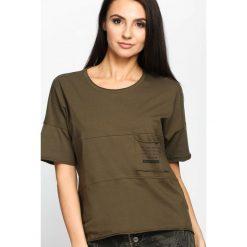 Khaki T-shirt Poetic Pocket. Brązowe t-shirty damskie Born2be, m, z okrągłym kołnierzem. Za 44,99 zł.