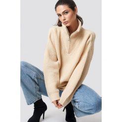 Swetry damskie: NA-KD Trend Sweter z suwakiem - Beige,Offwhite