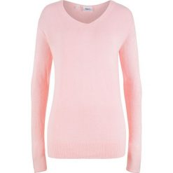 Sweter oversize z rozcięciem bonprix pastelowy jasnoróżowy. Czerwone swetry oversize damskie bonprix. Za 54,99 zł.