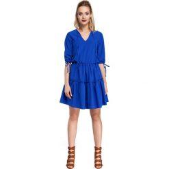 CAMILLE Gładka sukienka w stylu boho - chabrowy. Niebieskie sukienki boho Moe, na imprezę, z tkaniny. Za 159,90 zł.