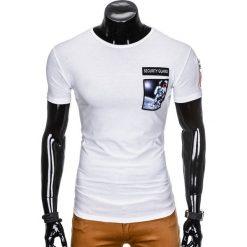 T-shirty męskie: T-SHIRT MĘSKI Z NADRUKIEM S876 – BIAŁY