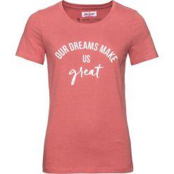 T-shirt z bawełny z nadrukiem, krótki rękaw bonprix rabarbarowy. Czerwone t-shirty damskie bonprix, z nadrukiem, z bawełny. Za 24,99 zł.