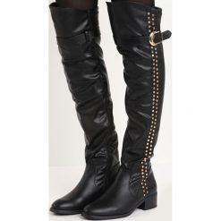 Czarne Kozaki Fortify. Czarne buty zimowe damskie marki Born2be, z materiału, z okrągłym noskiem, na obcasie. Za 69,99 zł.