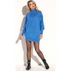 Niebieska Swetrowa Mini Sukienka z Półgolfem. Niebieskie sukienki dzianinowe marki Molly.pl, na co dzień, l, z klasycznym kołnierzykiem, oversize. Za 139,90 zł.