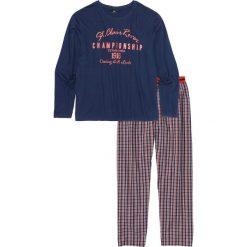 Bielizna męska: Piżama ze spodniami z tkaniny bonprix niebiesko-biało-pomarańczowy wzorzysty