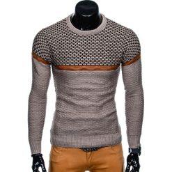 Swetry męskie: SWETER MĘSKI E131 - BRĄZOWY