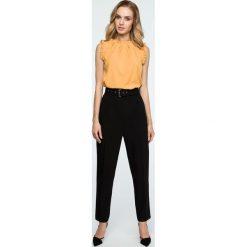 Spodnie z paskiem wysoki stan s124. Czarne spodnie z wysokim stanem Style, z haftami. Za 139,00 zł.